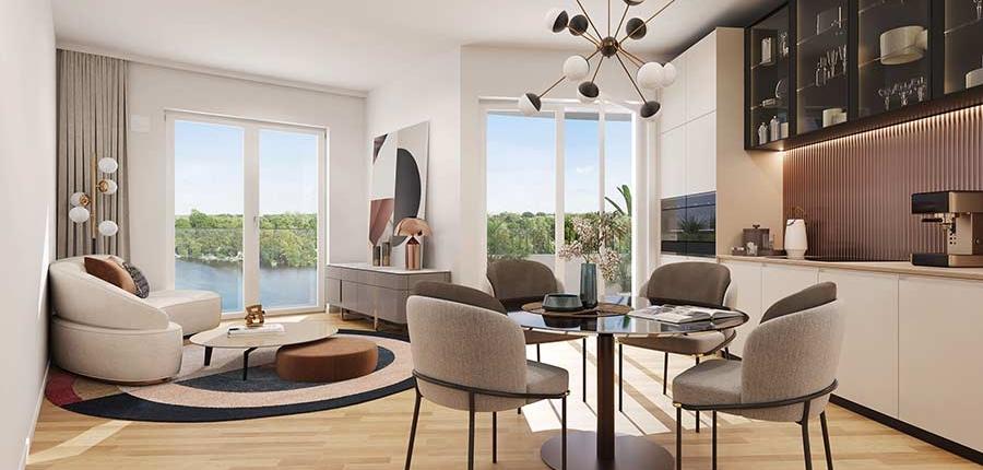 BUWOG SPEICHERBALLETT, Havelkiesel, Wohnung Visualisierung Innen, Küche / Wohnzimmer, Wohn-Ess-Bereich, Bodentiefe Fenster