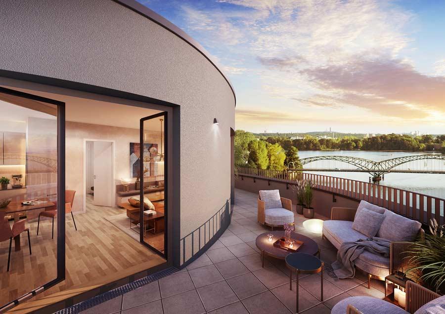 BUWOG SPEICHERBALLETT, Havelkiesel, Wohnung Visualisierung Innen, Balkon / Terrasse, Blick auf Havel / Große Eiswerderbrücke
